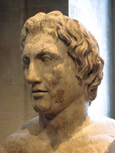 A Roman copy of a statue of Alexander by Lysippos. Plutarch said that the sculptures by Lysippos were the most faithful.