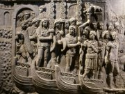 Detail from Trajan's Column Roman soldiers crossing the Danube.