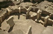 A temple area with megalithic pillars at Göbekli Tepe.