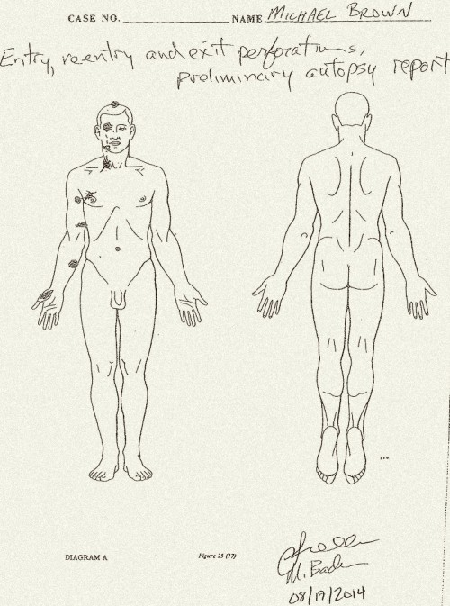 Michael Brown autopsy diagram by Dr Baden