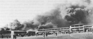 Burning barracks and hangars at Hickam Field 7 Dec. 1941