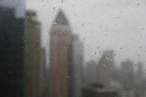 rainy window cityscape