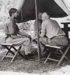 Major Sherwood Moran interrogating a Japanese prisoner in the Pacific Theater, WWII