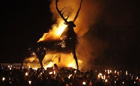 Hogmanay bonfire stag on Calton Hill