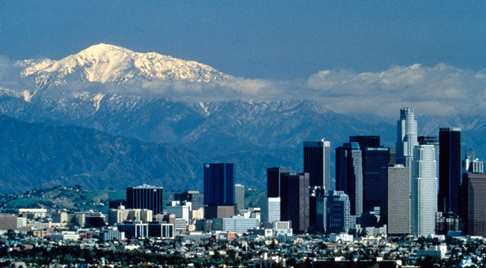 L A skyline in winter