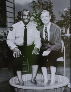 Officer Clemmons and Mister Rogers, from the video