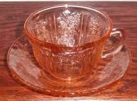 Depression glass rose tea cup