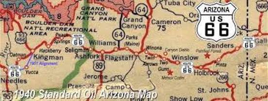 1940 Arizona Map - Route 66