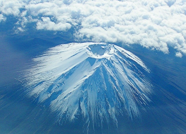 Mount Fuji aerial view of crater