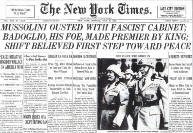 NYT Mussolini ousted 7-26-1943