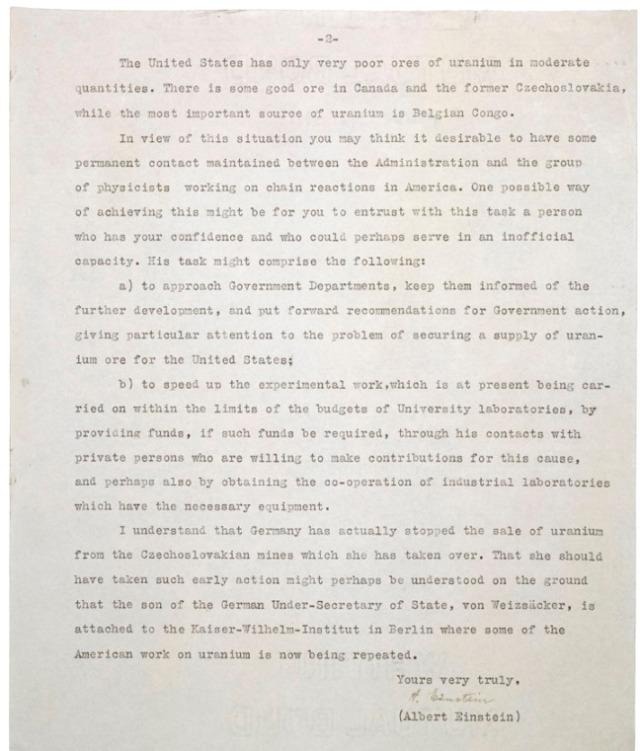 Einstein Letter to FDR 1939