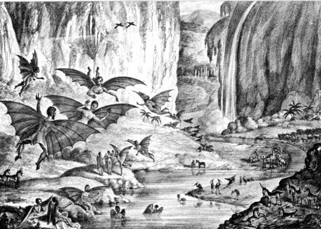 Great-Moon-Hoax-1835-NY-Sun-lithograph