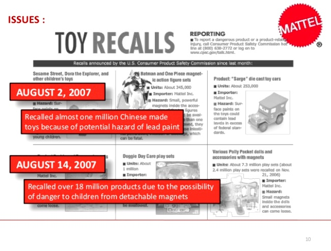mattel in chine toy crisis Mattel's ceo recalls a rough summer bob eckert tells fortune how the toy company made it through three recalls in just four weeks - and kept employees' morale high.