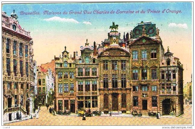 Bruxelles 1919 - maisons du Grand Duc de Lorraine et du Prince d´Orange post card