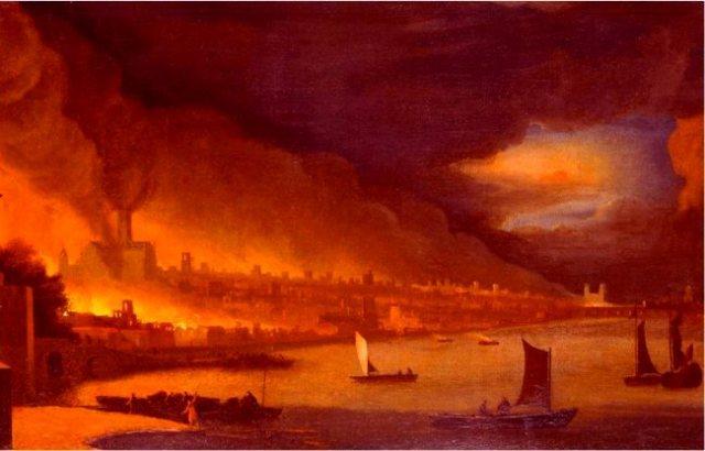 Great Fire of London 1666 unknown artist