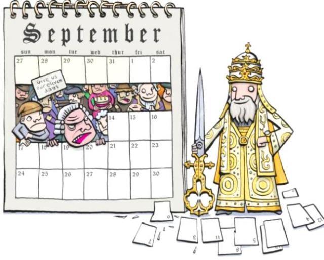 Gregorian Calendar 11 day cut Glen McBeth