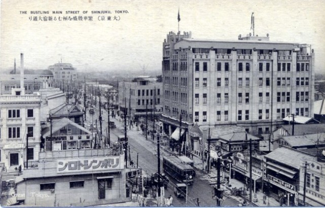 Tokyo shinjuku-main-street c 1930 post card