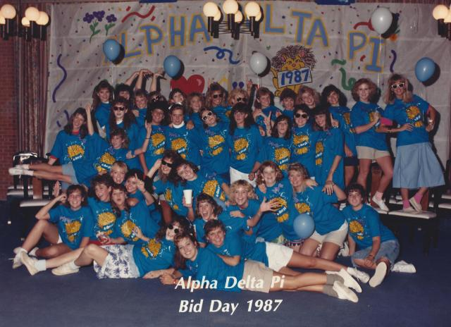 Alpha Delta Pi, Ole Miss, 1987 Mary Beth is front row left on floor