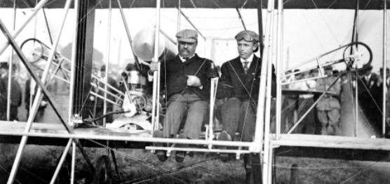 TR in flying machine with Hoxsey 1910