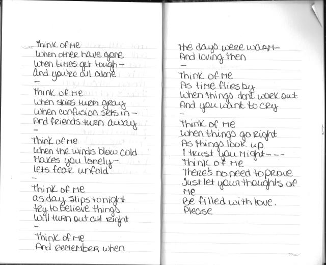 THINK OF ME Poem by Mary Beth Stanley, 10th grade - age 15