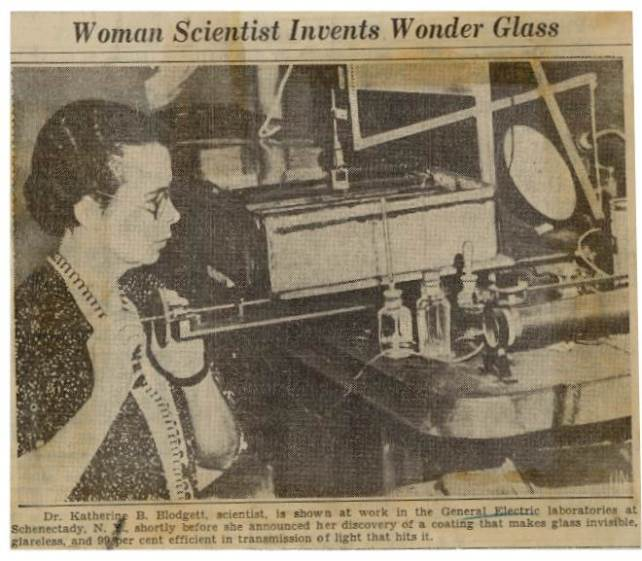katharine-blodgett-wonder-glass-newspaper-clipping