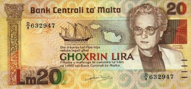 malta-currency-20-lira-agatha-barbara