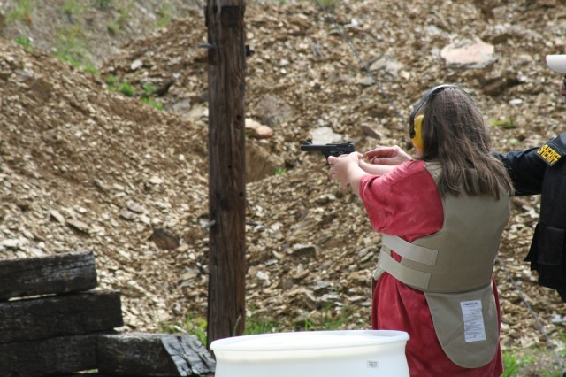 Brandi at pistol range